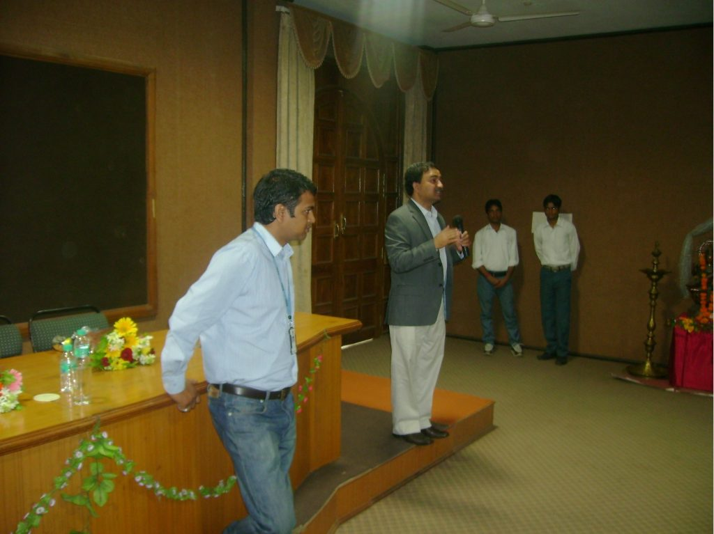 Kotur and Swapnil addressing the students at LNCT Bhopal.